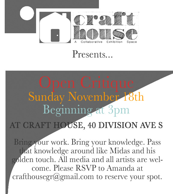 The next Open Critique is scheduled for Sunday November 18th starting at 3pm. Hope to see you there!