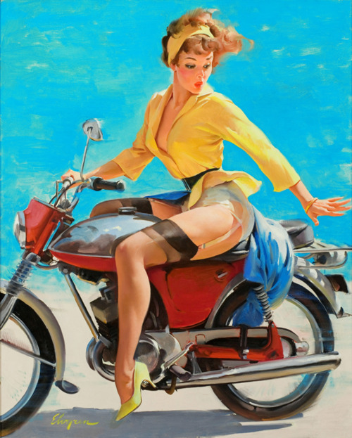 """Skirting the Issue"" (Breezing Up) by Gil Elvgren,1956"