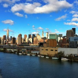 Nice view of Manhattan from the Pulaski Bridge. #nyc #ny #newyork #skyline #sky #clouds