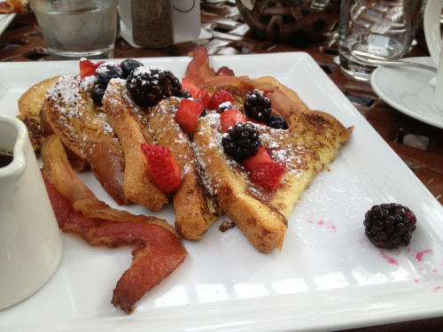 Weekend culinary highlights: French toast for brunch at the Trellis Restaurant in Williamsburg, VA last Saturday.