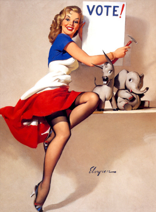 "vintagegal:  ""It's Up to You"" by Gil Elvgren, 1958  #vote #Obama2012"