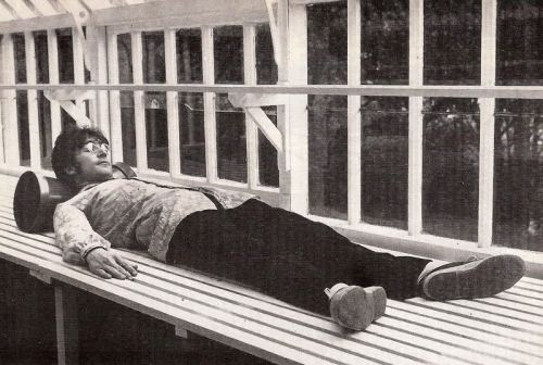John Lennon in his greenhouse at Kenwood