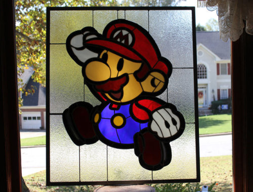 Video game inspired stained glass window pieces!