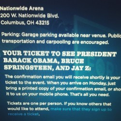 May miss class Monday for this. Got my ticket just in case. #2012presidentialelection #ohio #swingstate #jayz #rocnation