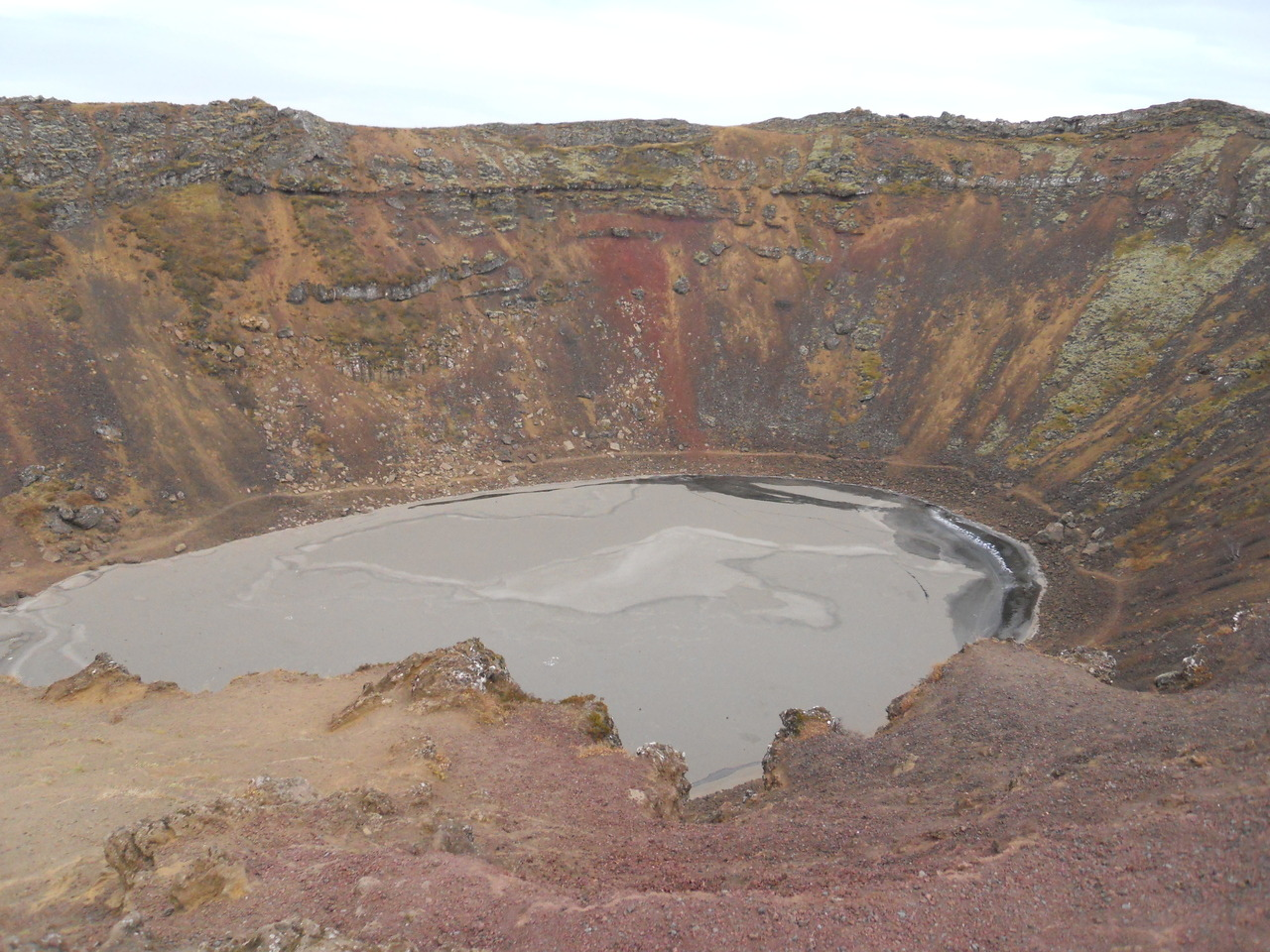 Today we visited a massive crater just down the road from Solheimar, which formed directly after a volcanic eruption when the volcano caved back into itself due to various geological processes. By peering over the edge, we were actually seeing the mini-caldera of the volcano! Apparently, Icelanders would have concerts at the bottom on the crater in the summer. The artist would float on the water and perform while the audience circled around the outside and watched. That would have been an incredible sight to see!