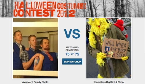 CollegeHumor Costume Contest [Click to Submit & Vote] Have a favorite Halloween costume of 2012? First, second and third place winners all receive cash payments. First place gets $500, second place prize is $200 and third place is $100.  Submit your costume by 11:59pm on November 3rd to be included in the contest.  The official voting period ends Sunday November 4, 2012 at 11:59PM so get your votes in now.