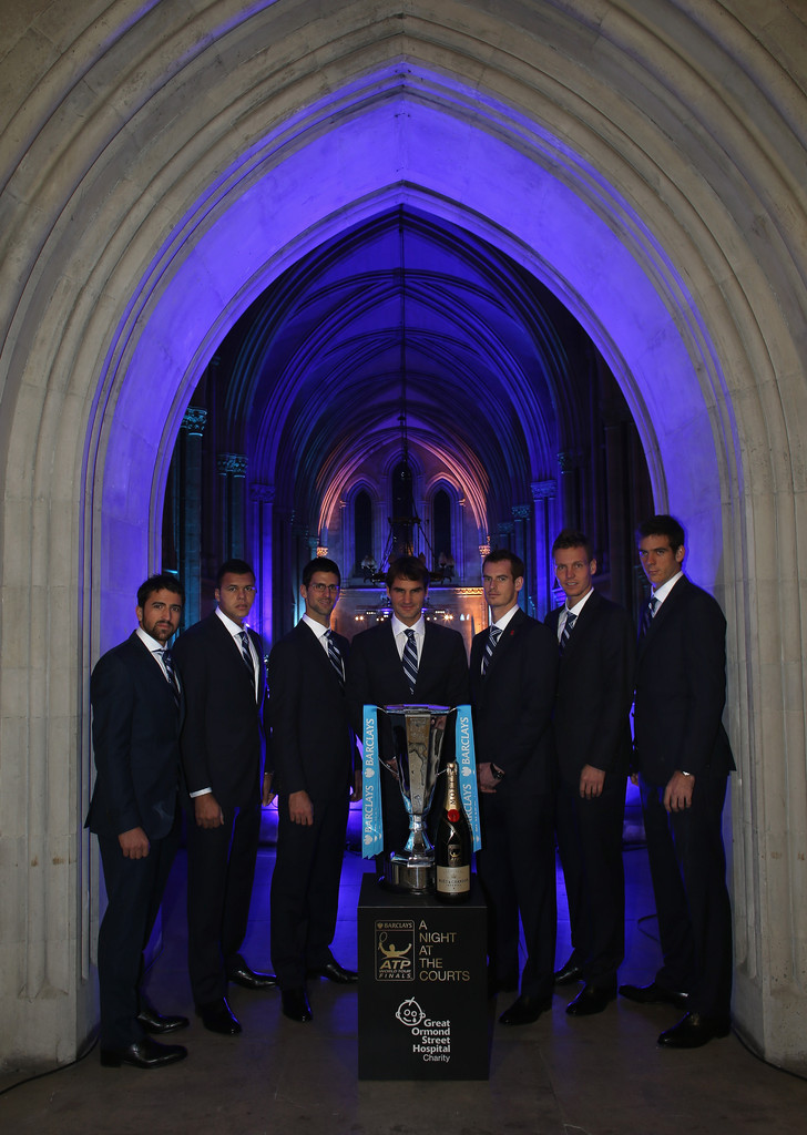 The world's top eight tennis players (Without Ferrer) arrive at the Royal Court's of Justice for the official Barclays ATP World Tour Finals Gala.              Djokovic sporting glasses for the occasion.