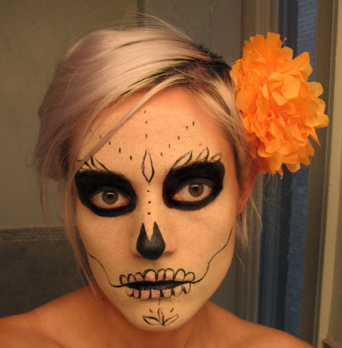 My Day Of The Dead face! It glows in the dark, but I had trouble capturing that on camera.