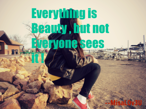 Everything is Beauty , but Not Everyone Sees it !