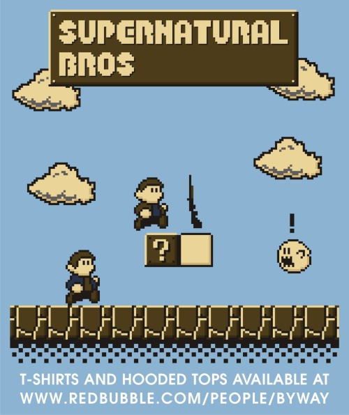 My 'Supernatural Bros.' design is finally available to buy on T-shirts and hooded tops over at my RedBubble store, RedBubble.com/people/byway! You can also purchase the design in Blue or Turquoise on an ipod or iphone case!