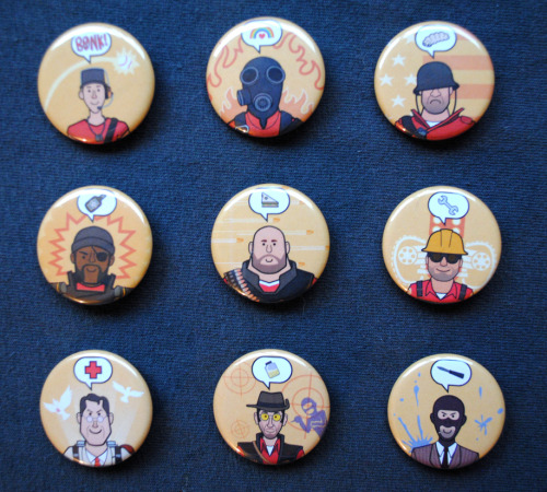TF2 Class Buttons done! Available for purchase in my etsy store!