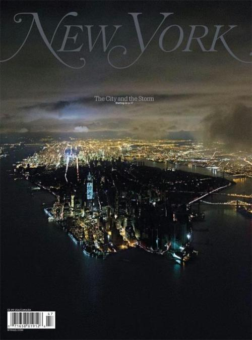 inothernews:  Cover, New York magazine. On the bottom left of Manhattan island is Battery Park City, formed from landfill dug out to make room for the foundations of the original World Trade Center complex.