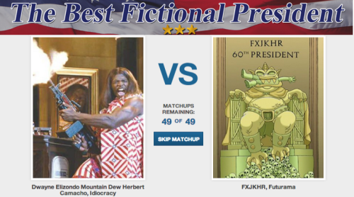 Who's the Best Fictional President? [Click to begin voting] While everyone is waiting to see who wins the vote for President of the United States, we want to figure out who the best fake president is. It's probably of equal importance.