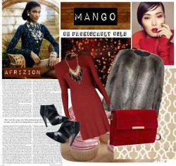 afrizion:  Our Mango picks: Be fashionably Cold by afrizion featuring a suede bag www.afrizion.com Mango long sleeve dress / Mango faux fur jacket / Mango pointy toe boots / Mango suede bag / Mango tassel necklace, $69