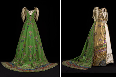 Louise, Duchess of Devonshire's 'Queen of Zenobia' Ball Gown for the Devonshire House Ball by House of Worth, 1897 Paris (worn in England), Chatsworth   Ball gown with an under-robe of cloth of silver, wrought all over with silver thread and brilliants, and with an over-dress of green and gold shot-silk gauze, embroidered to the waist with green and gold metalwork, decorated with jewels. A long train of turquoise velvet, embroidered in gold to an oriental design, was attached to the shoulders. A bodice of gold cloth and lace was fitted over a whalebone corset into which her waist was tightly laced. The headdress that went with it has not survived, but it can be seen in Lafayette's photograph. The dress was made for Louise, Duchess of Devonshire by the House of Worth to wear at the celebrated Diamond Jubilee Ball at Devonshire House. It was a fancy dress ball and Louise attended as Queen Zenobia, the warrior Queen of Palmyra. The Duchess may have got the idea for the theme of the dress from Inigo Jones's costume designs for Court Masques that are in the drawing collections at Chatsworth.  Unfortunately, the images are really small.