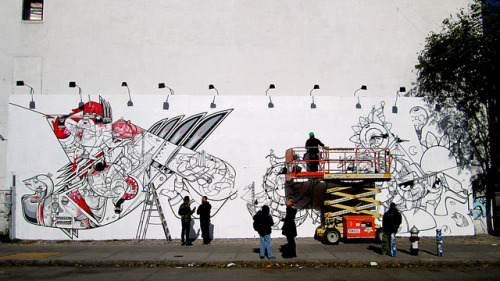 How and Nosm in Progress on the Bowery by LoisInWonderland on Flickr.Dope and very topical storm piece from How and Nosm on the Bowery Wall
