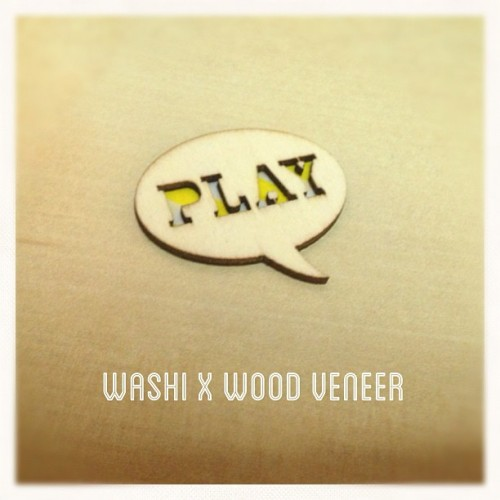 #washi x #woodveneer         #play #scrapbook #scrappy #mt #fun #love #instagood #hkig #igers #yellow #wooden #diecut