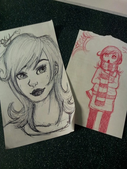 doodles at work today, there was a fireworks display too c: