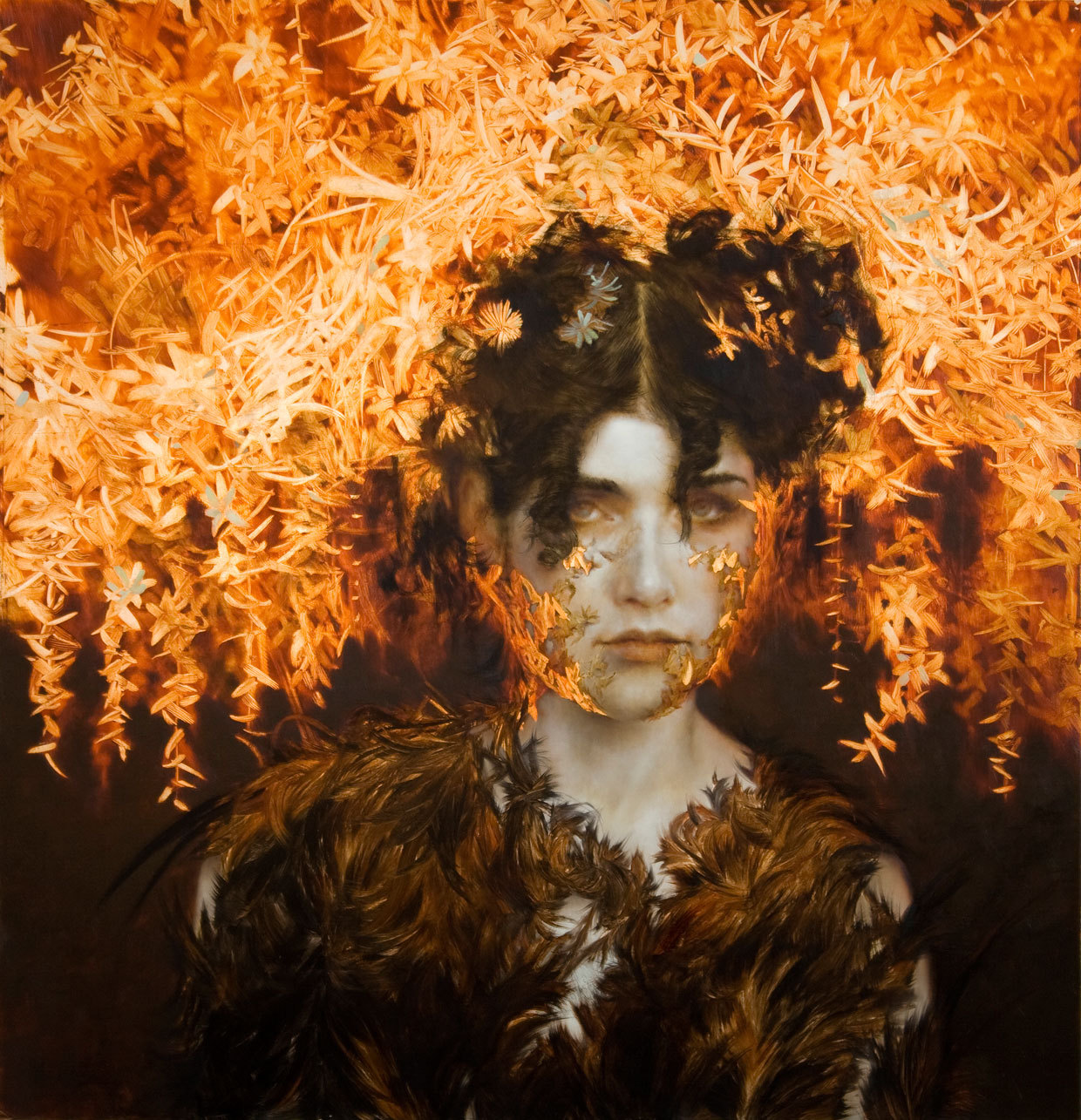 Brad Kunkle, Candela, 33 x 32 inches, Oil and silver leaf on wood, 2011