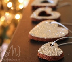 Cinnamon ornaments with glitter baked into the dough… a spin on my fondest Christmas memories.