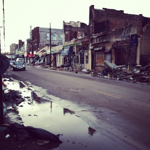 thekidhasarrived:  Down in the Rockaways today doing some volunteer work. It looked like a war zone. #hurricanesandy #rockaways