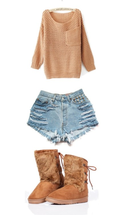 Bow by fille-en-or featuring high waisted shortsLong sleeve sweater / Levi's high waisted shorts