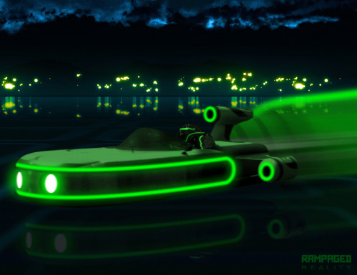 Light Landspeeder is a Tron: Legacy / Star Wars film mashup of a Land Speeder and Light Cycle that I created back in 2010 which should become a reality since The Walt Disney Company recently acquired Lucasfilm. This piece was inspired by a comment made by my friend / artist Geekleetist regarding a great Tron-Taun mashup by David Swart. Related Rampages: Fark Shark (More) Light Landspeeder by Justin Page (deviantART) (Behance) (Twitter)