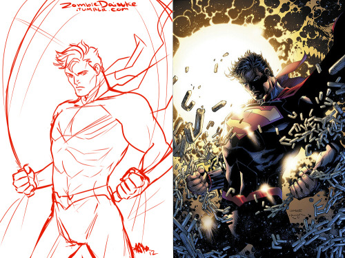 Quick redraw of Jim Lee's cover/illustration for the new Man of Steel comic. I kept the proportions but I straightened out his neck and body a bit because…it was really weird before. Also, my version is jump-roping.  Nacey: You know Supes would be mad-good at the jumprope shit.  Like, he could do a million of those fuckers, forwards AND backwards.Thanks for tackling Jim Lee!  He's hugely influential, and I have a lot of respect for the work he's done, but at the same time, he's also done a lot of ridiculous shit.Like Superman bending his neck like a bucking stallion here.