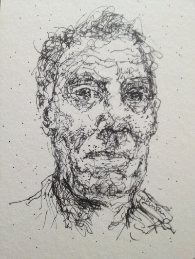 Self portrait 20/8/12 by steve_huison on Flickr.Pen on card 65mm x 90mm