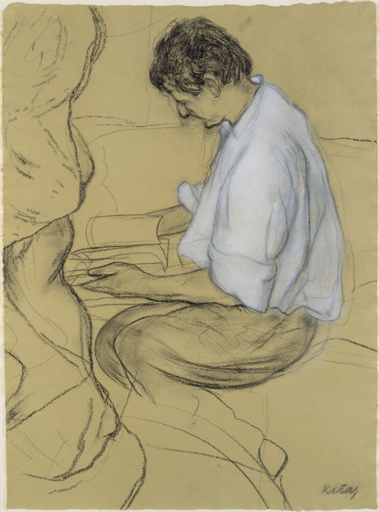R.B Kitaj - Lucian Freud, 1991. Charcoal and pastel on paper
