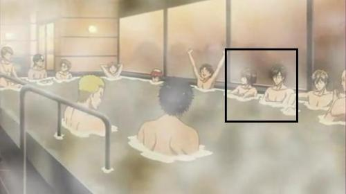 Tezuka and Fuji: in the bath beside each other while they're naked :P notice the close proximity between them compared to the others in the bath \(>_<)/
