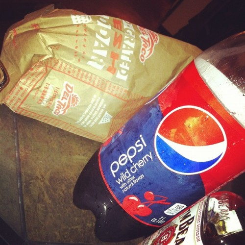 I didn't eat breakfast so I took a pic of my dinner! 😉 #cherry #pepsi #whiskey #jimbeam #deltaco #burrito #yummm #dinner #ahhh by that_guy_jagers http://instagr.am/p/RmKnz8Nyt7/