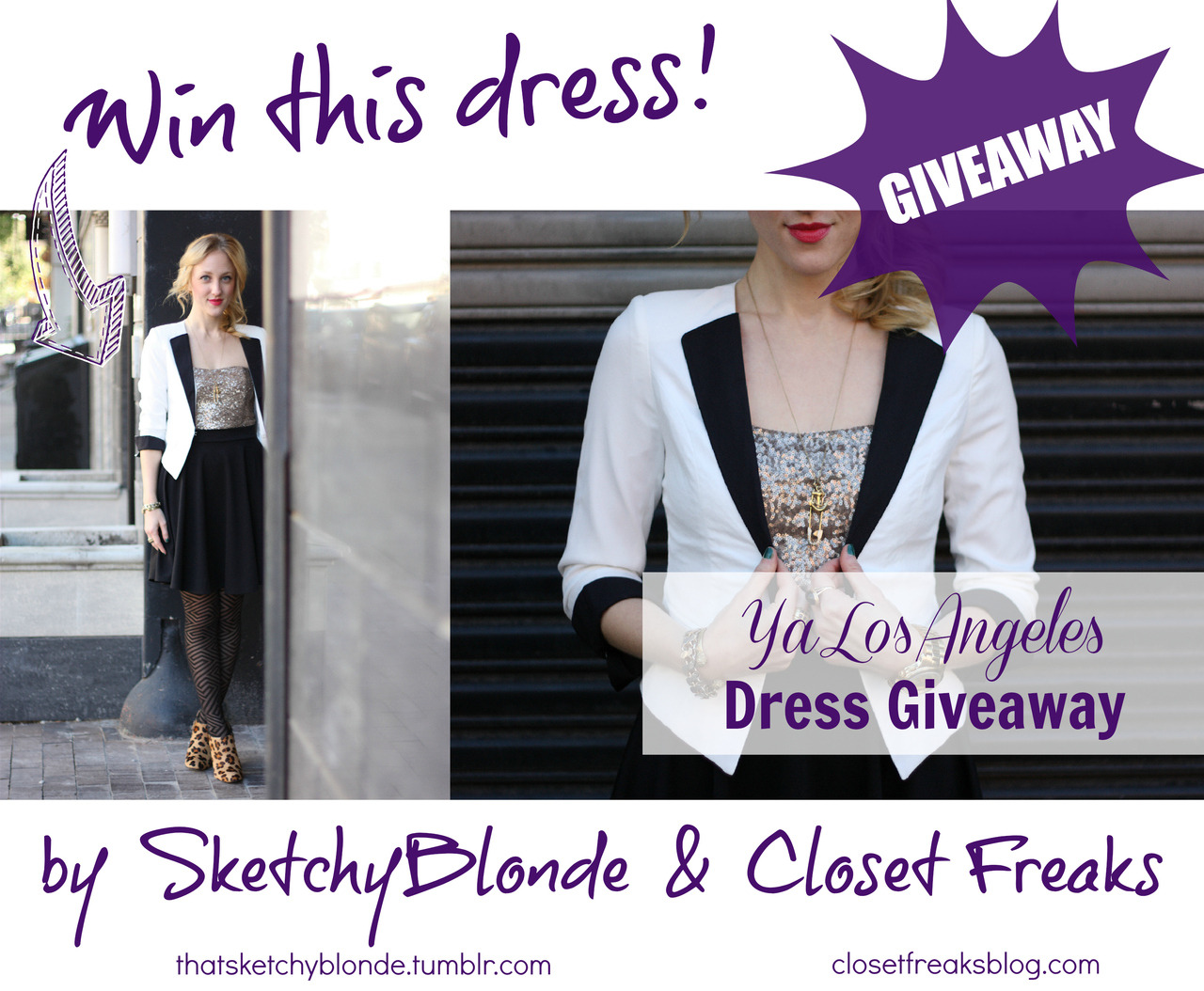 YA LOS ANGELES GIVEAWAY by Melanie Schnitzlein | @sketchyblonde | www.thatsketchyblonde.tumblr.com  You guys like free stuff, right?? That sequined Ya Los Angeles dress I wore on the blog last week is now totally, 100% up for grabs! Now you,  yes you, can own this hot dress from one of my all-time favorite makers of adorable clothing that also won't make me poor - and it won't cost ya a thing. Kind of like J.Lo's love. The dress itself  is a super-soft black jersey fabric, very comfortable to wear, even while prancing around your neighborhood with two tired, slightly grumpy Jersey City residents following you around and taking your picture (hi guys!). The sequins on top are tiny and layered, and a very nice burnished sort of silver - very classy sequin action going on. I could see this dress putting on a bright lipstick and going out on New Years Eve, drinking delicious cocktails and taking waaayy too many pictures. It's a size small, but with a lot of stretch and a full-skirted, forgiving bottom half. If it still sounds like you're too busty or bootylicious, enter anyway! Gift it to a friend to guilt her into getting you a good Christmas gift. Or him, whatever. This is safe space. So what are you waiting for? Get involved and get something for free. Take a looksy at how to enter below: a Rafflecopter giveaway Good luck xx Anthony, Dustin, & Melanie