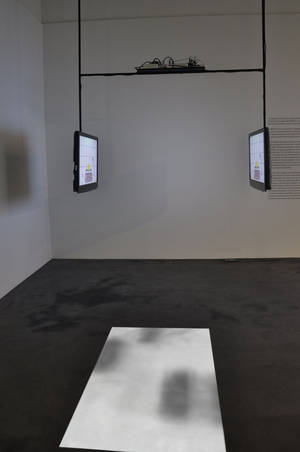 "Herwig Turk and Paulo Pereira, DNA Film 2008, video installation Museu da Ciencia Coimbra 2009 ""The images of DNA sequencing are organized in vertical rows of small squares black and white and slightly out of focus. These patterns are reminiscent of the punched cards that were used in the early digital computers but also of the photograms obtained from the end of a black and white silent movie. The soundtrack of the work DNA Film was created by measuring the light intensity of the individual frames, while it also resembles the familiar sound of a cinema projector. In a certain way, DNA Film invites the viewer to experience the projection of a DNA sequence as if, metaphorically, she/he were witnessing an excerpt of a life."""