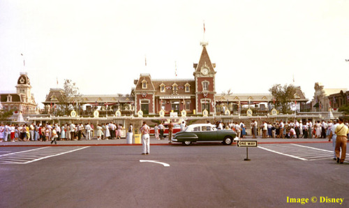 This is a rare color image of opening day taken outside the Main Entrance of Disneyland on July 17, 1955.