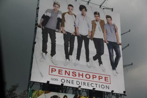 ayiiiiiofficial:  (GMA Kamuning, Philippines) Penshoppe goes One Direction And yes, I took a picture of this because I love these kids. I'm still squealing like a cow. And this is just a picture! Imagine if they were at my doorstep in   tuxes and flowers.  OMG!