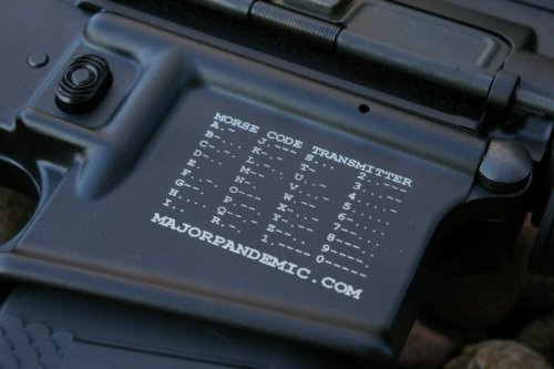 Morse Code A more practical use of the mag well space on an AR-15 lower. This one has the morse code chart. Many of us will probably never use morse code…unless SHTF. Source