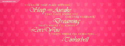 Tinkerbell Ill Be Waiting Quote Facebook Cover