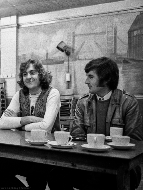 Eric Idle and Michael Palin during the rehearsals of Monty Python's Flying Circus, 1970
