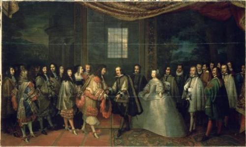 Entrevue de Louis XIV et de Philippe IV dans l'Ile des Faisans, le 7 juin 1660- Charles le Brun @credits  The Treaty of the Pyrenees (Spanish: Tratado de los Pirineos, French: Traité des Pyrénées, Catalan: Tractat dels Pirineus) was signed to end the 1635 to 1659 war between France and Spain, a war that was initially a part of the wider Thirty Years' War. It was signed on Pheasant Island, a river island on the border between the two countries. The kings Louis XIV of France and Philip IV of Spain were represented by their chief ministers, Cardinal Mazarin and Don Luis de Haro, respectively.