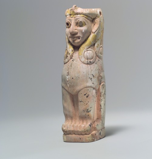 Furniture support in the shape of a female sphinx with Hathor-style curls. Made from hippopotamus ivory and covered with gold foil. Middle Bronze Age, ca. 18th century B.C. Found in what was likely an Assyrian trading colony in Acemhöyük, Anatolia.  (Source: Metropolitan Museum)