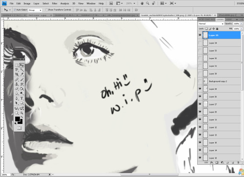 trying out something new, Can you guess who she is? ü i need to be more productive. My 2D project is going nowhere.