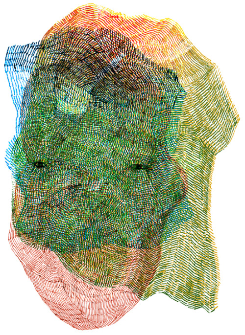 jisoonpark:  Face 117-12012, mixed media