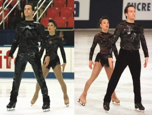 Sarah Abitbol and Stéphane Bernadis skating their short program in the 1997 Skate Canada and 1997 Trophée Lalique. I suppose the shiny trousers were considered a shiny step too far. Photos by J.B. Mittan. www.jbmittan.com/skaterpix1997/9731102.JPG www.jbmittan.com/skaterpix1997/9735015.JPG