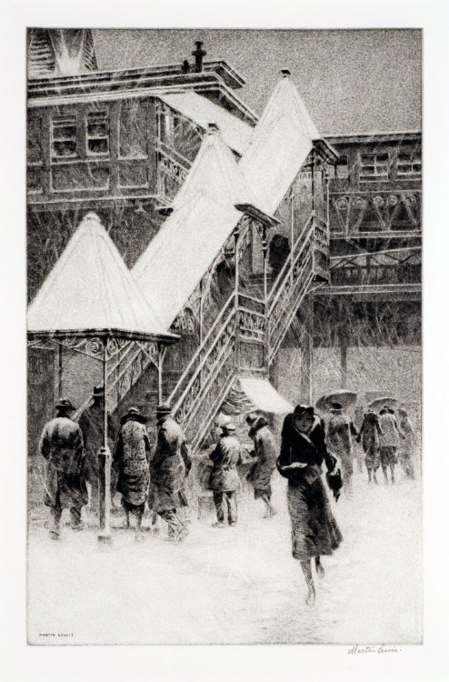aboylan:  Martin Lewis, Snow on the 'El' (1931) Drypoint