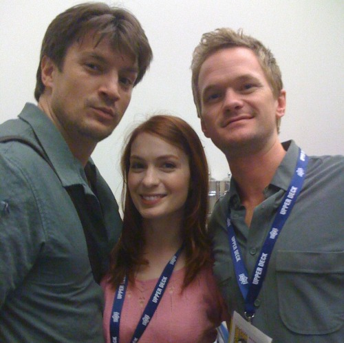 Neil Patrick Harris, Felicia Day, and Nathan Fillion. Forever geeks and loving it.