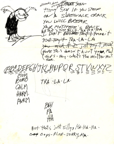 "bostonpoetryslam: draft of Shel Silverstein's ""Sidewalking,"" from the Silverstein Archives in Chicago"