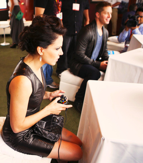 Lana Parrilla playing xbox.