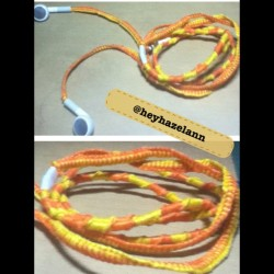 astoldbyhazelann:  Project Earphones is complete! :) #yellow #orange #apple #earphones #music #color