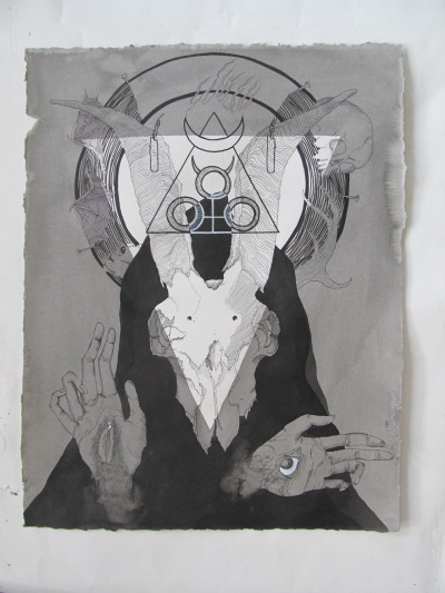 occultartistscollective:  I - Domina Satanae II - The Pact (pen and consecrated ink on paper) III - This piece reflects the pact made with our Master within the tradition of black magic. Above is the altar upon which are the proper sacrifices. Below is the magician enrobed and wearing the mask of her own ego-death. In one hand is awakened eye and in the other is the awakened yoni. IX - http://dominasatanae.tumblr.com  Good Stuff